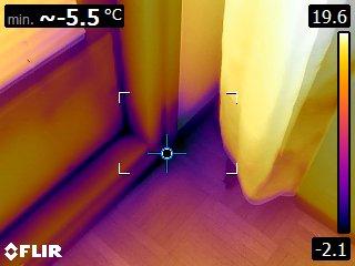 Vuotava ovi, lämpökamerakuva